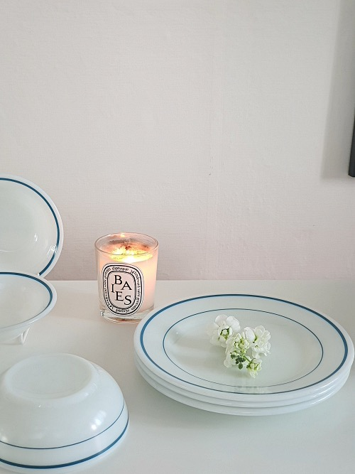 Vintage Pyrex White Milk Glass Blue Band Dinner Plate (23CM)