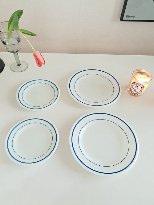 (4장재입고) Vintage Corning Pyrex White Milk Glass Blue Band Dinner Plate (23CM)