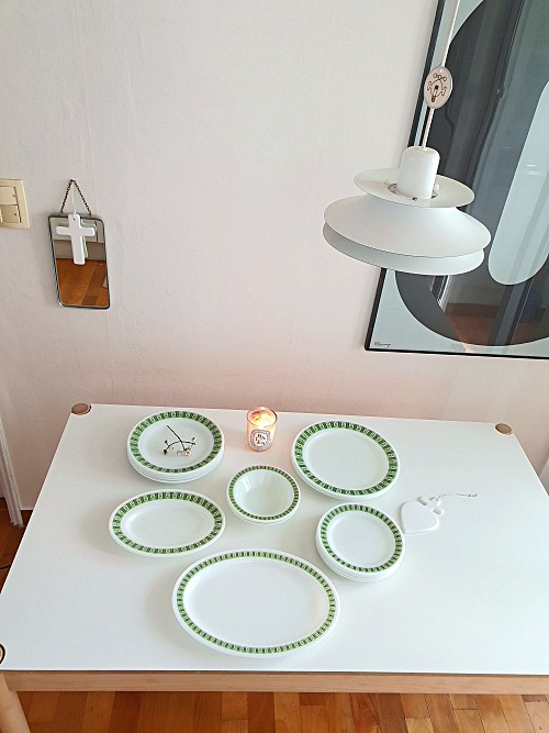 (2장입고) Vintage Corning Pyrex White Milk Glass Darby Large Dinner Plate (27CM)